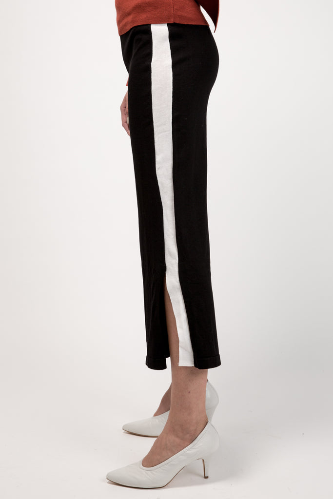 Mid Rise Knitted Culottes Black With Side Slit