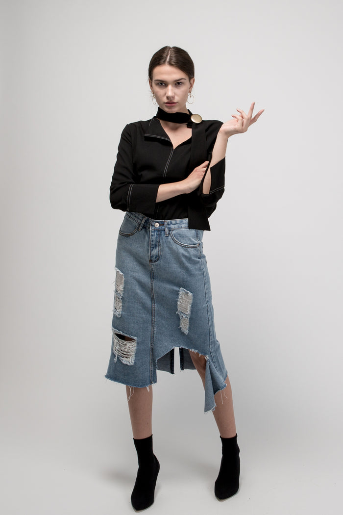 Ripped Midi Denim Skirt Blue