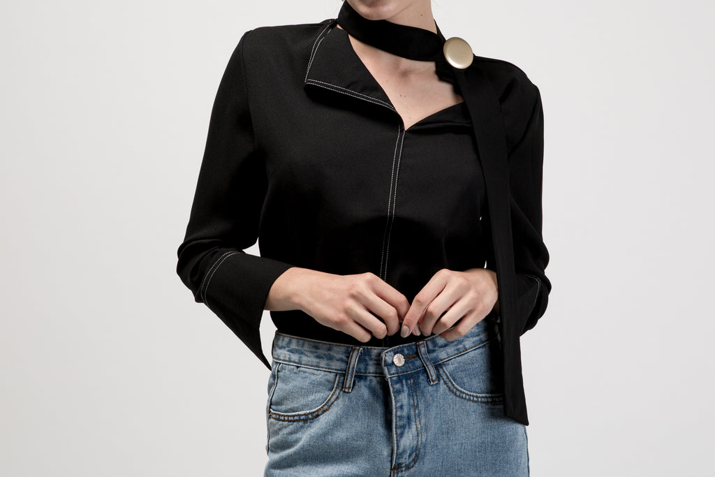 Buttoned Chocker Neck Top Black