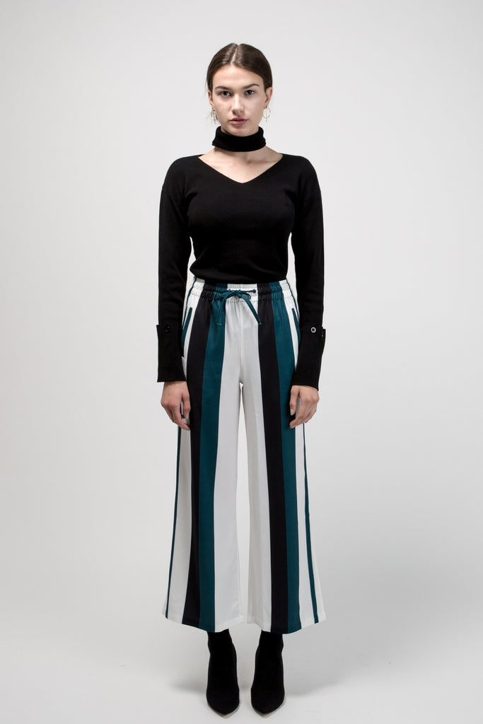 Culottes With Black Green Stripe