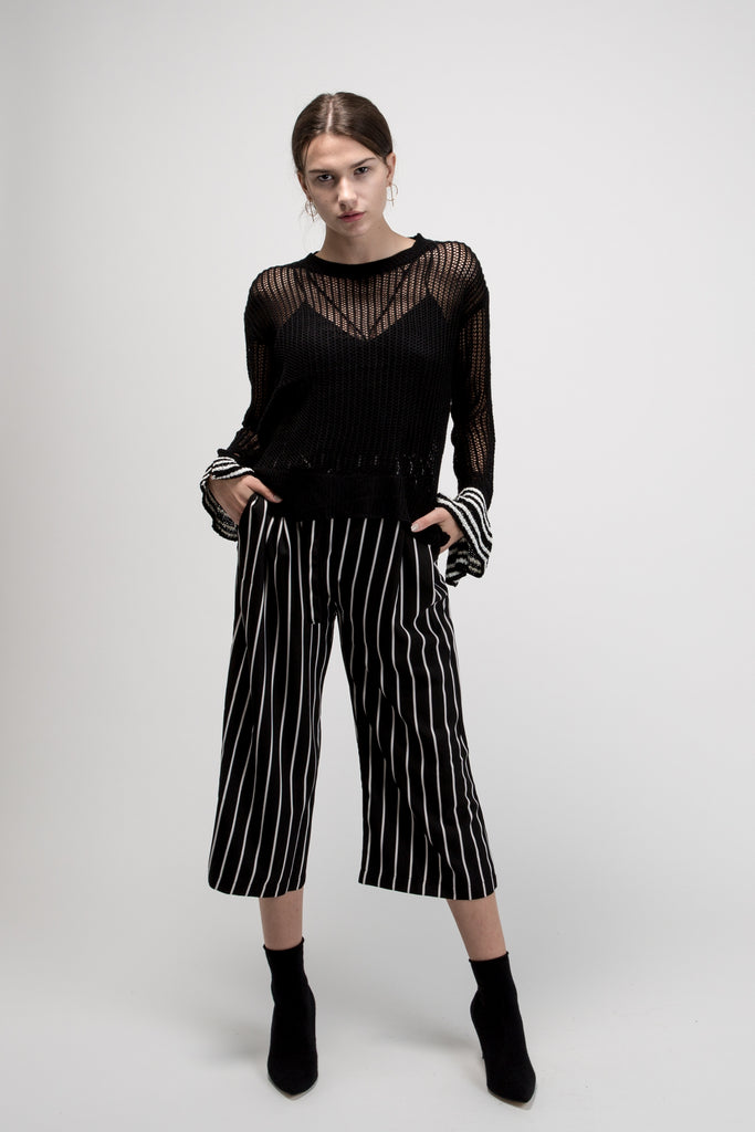 Cropped Pinstripe Pants Black