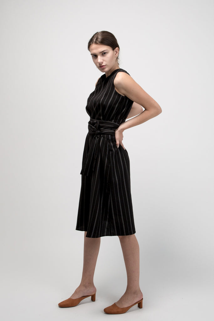 Sleeveless Pinstripe Midi Dress Black With Belt