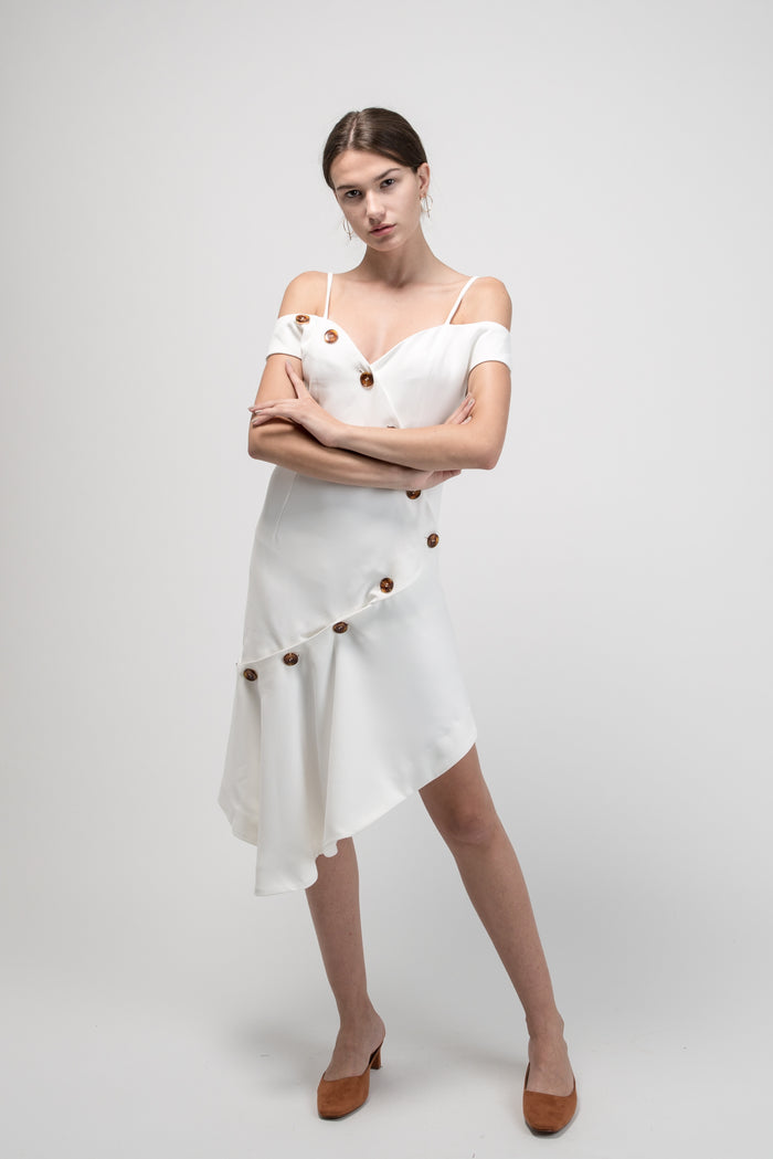 Off shoulder Asymmetrical Button Dress White