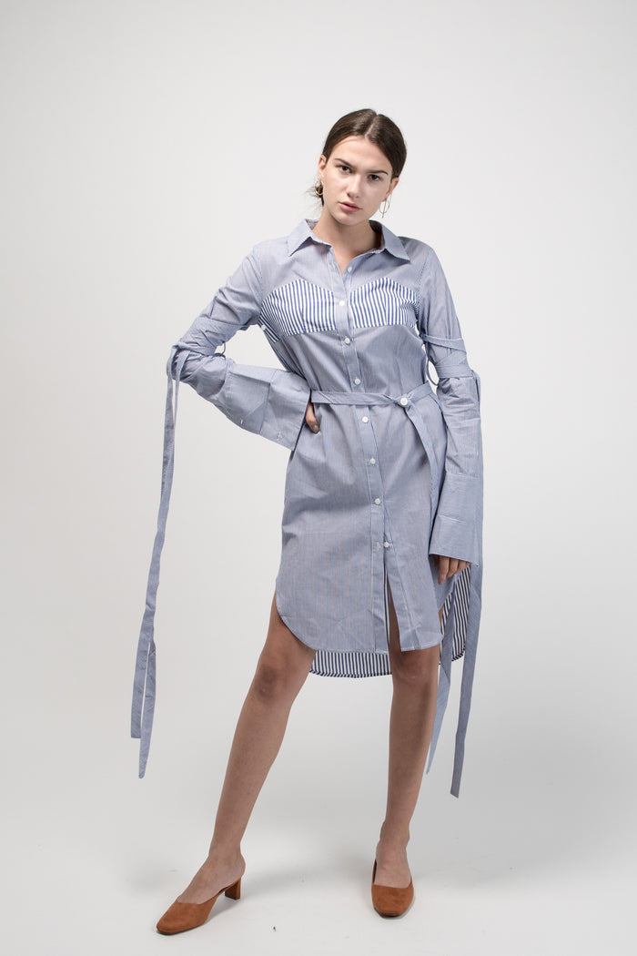 Tie Up Sleeve Shirt Dress Blue