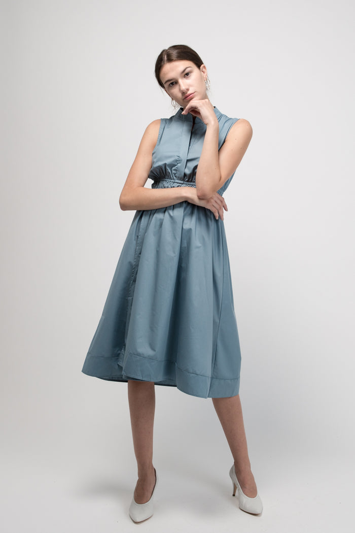 Sleeveless Pleated Midi Dress Stone Blue