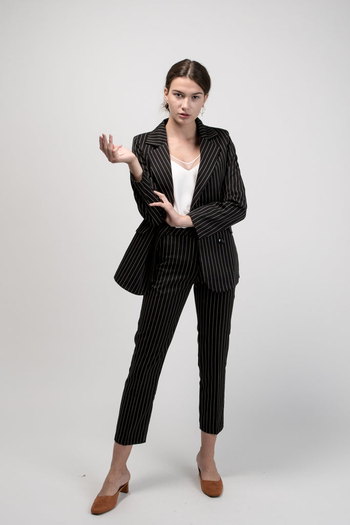 Pinstripe Suit Black Two Piece