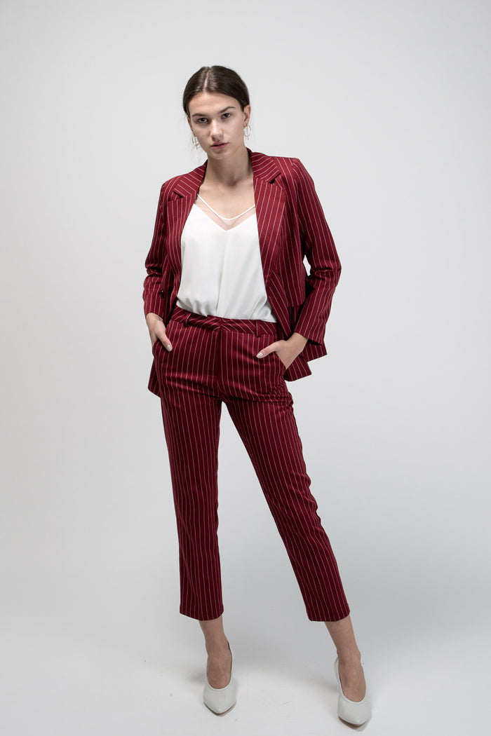 Pinstripe Suit Brick Two Piece