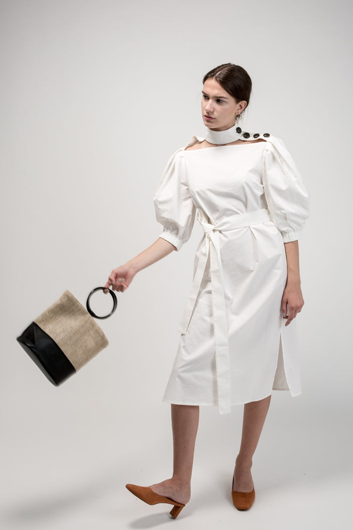 Midi Shirt Dress with Chocker White