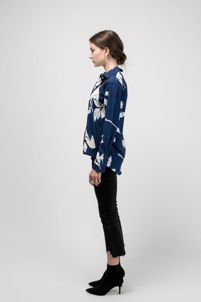 Artsy Oversized Shirt Dark Blue