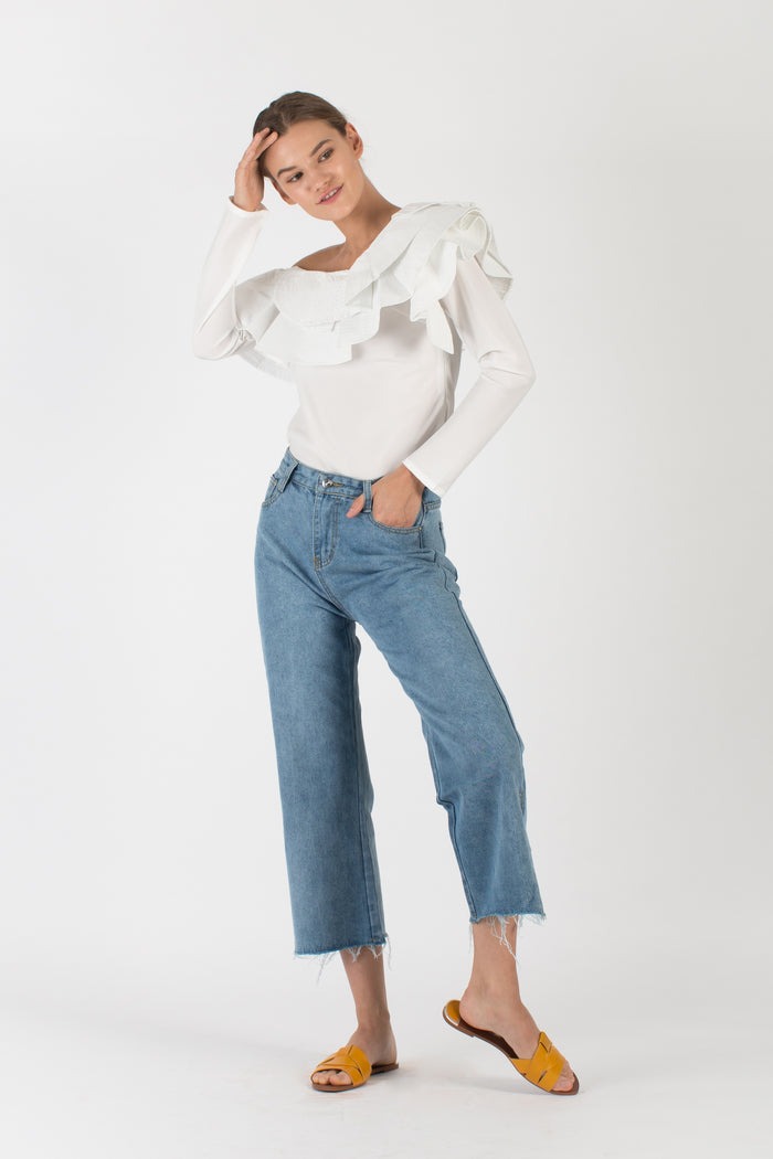 Off-Shoulder Ruffle Blouse White