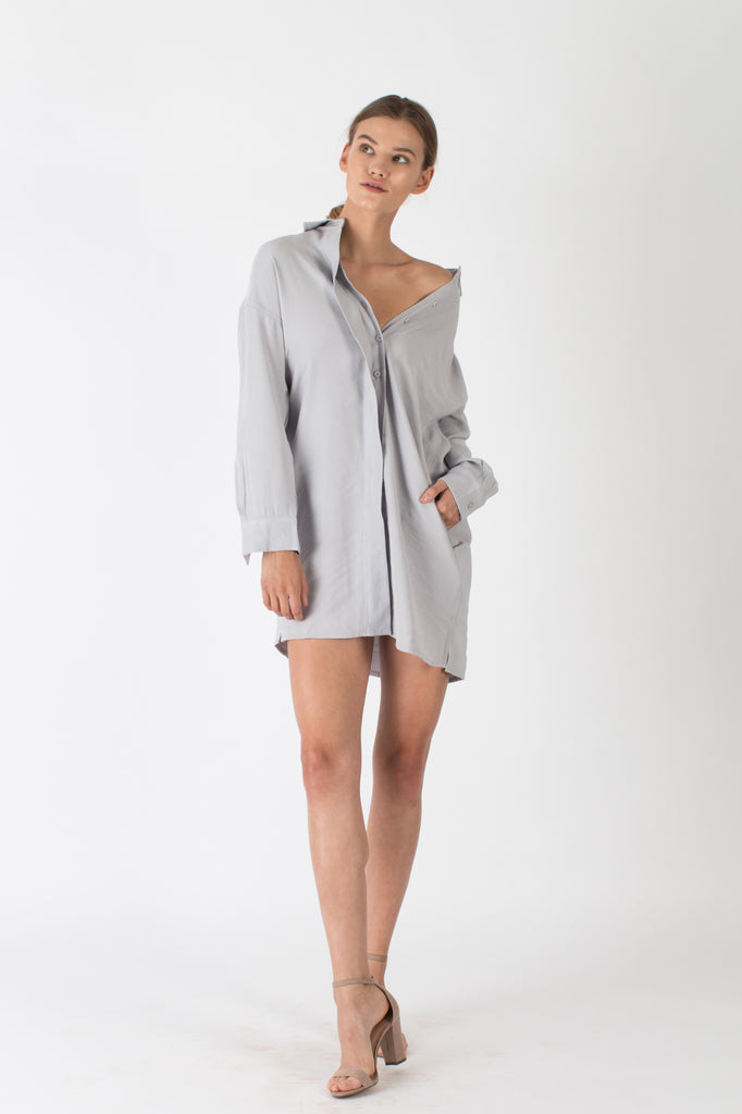 Aiden Shirt Dress Light Grey