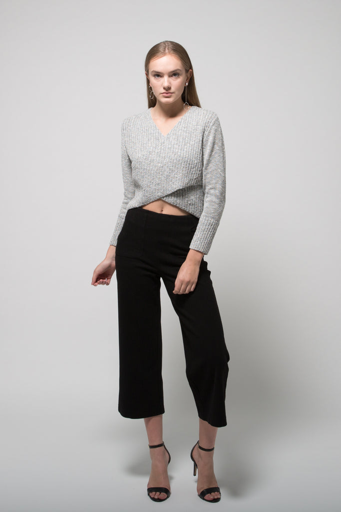 Deep V Bi-Fold Sweater Heather Grey