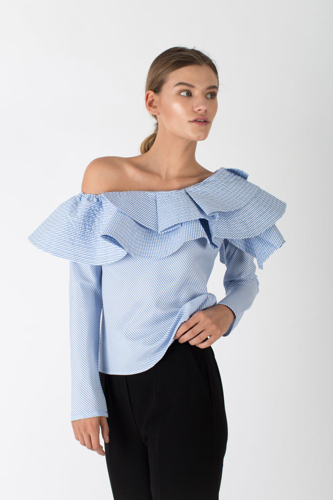 Off-Shoulder Ruffle Blouse Blue Stripe