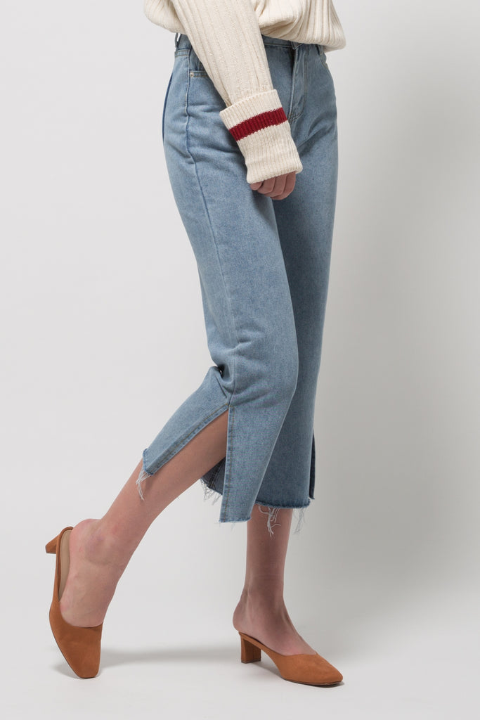 Culotte Blue Jeans with Fake Pocket