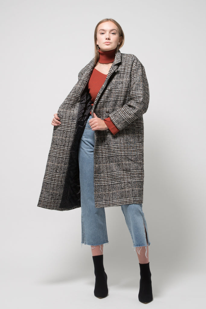 Plaid Boyfriend Style Coat Black/Grey