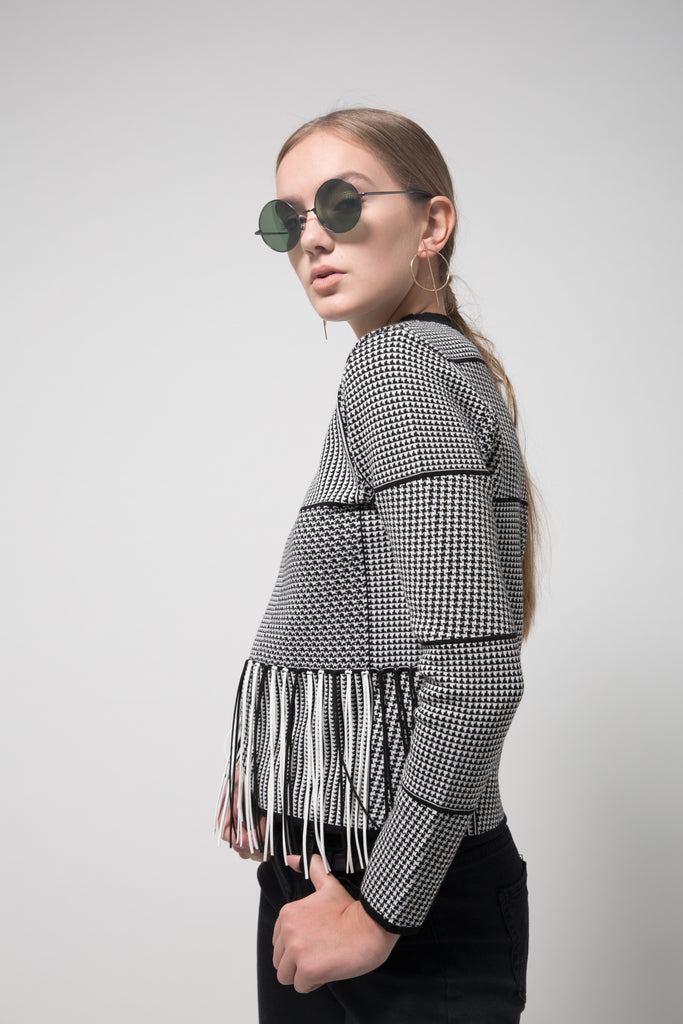 Fringed Houndstooth Sweater Black/White