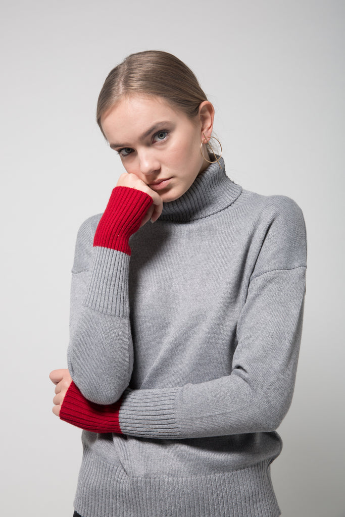 Color Block Turtleneck Sweater Grey with Red Cuff