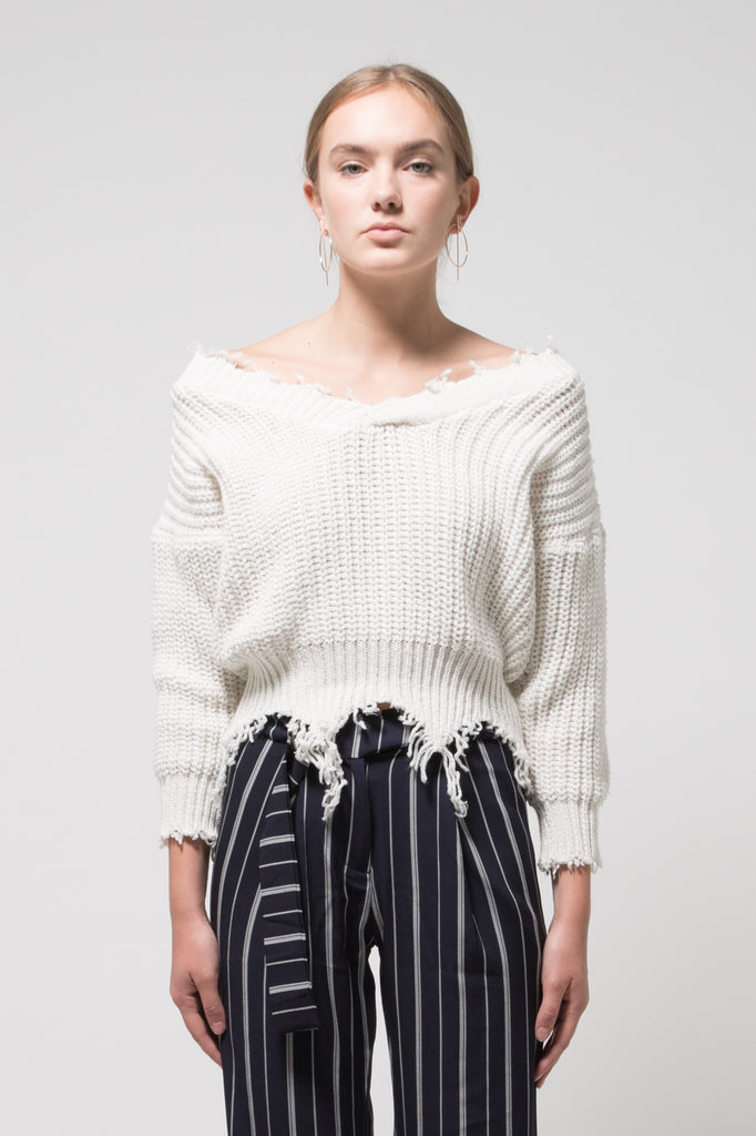 Frayed V Neck Sweater White