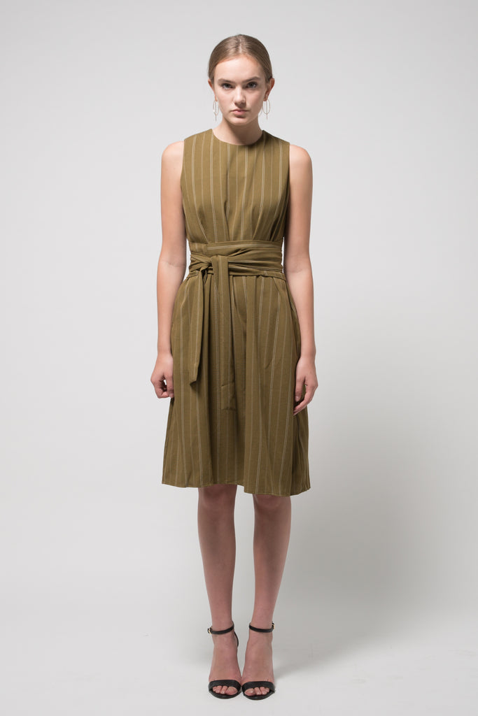 Sleeveless Pinstripe Midi Dress Green With Belt