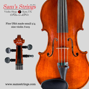 Fine American-made small 3/4 size Violin #1013