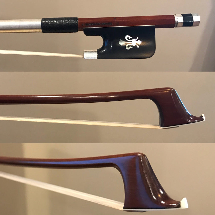 Arcos Brasil - Silver Mounted Cello Bow with Fleur-de-Lys Inlayed Horn or Snakewood Frogs