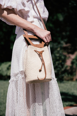 Fe Handbags, Handwoven bucket bag