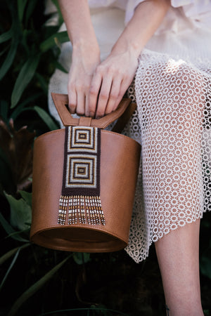 Fe Handbags, Nabba Embera bag in camel