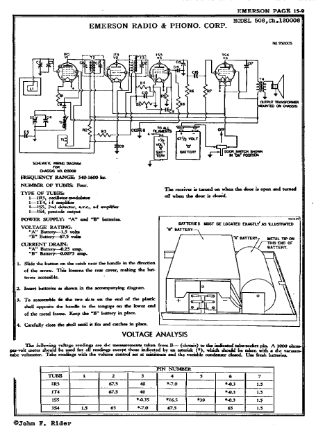 Emerson Model 508 Battery Radio Schematics