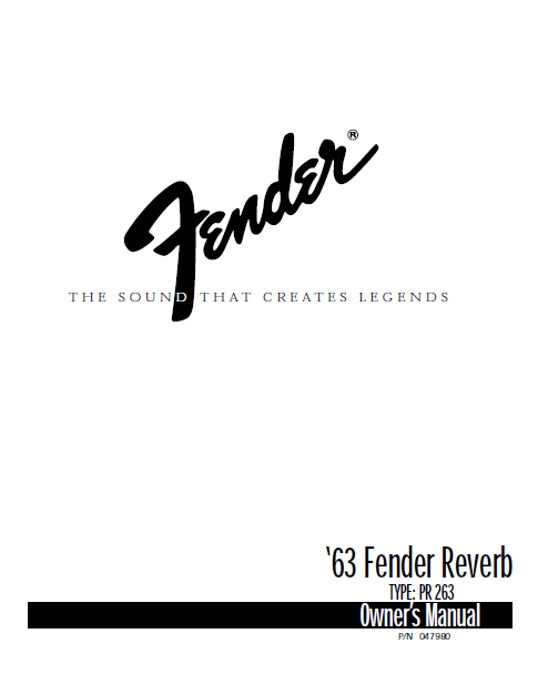 63 Fender Reverb Owners Manual