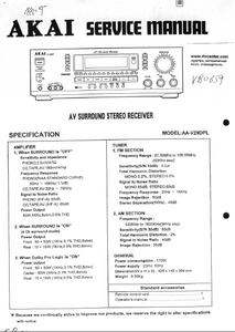 AKAI AV Surround Stereo Receiver AA-V29DPL Service Manual