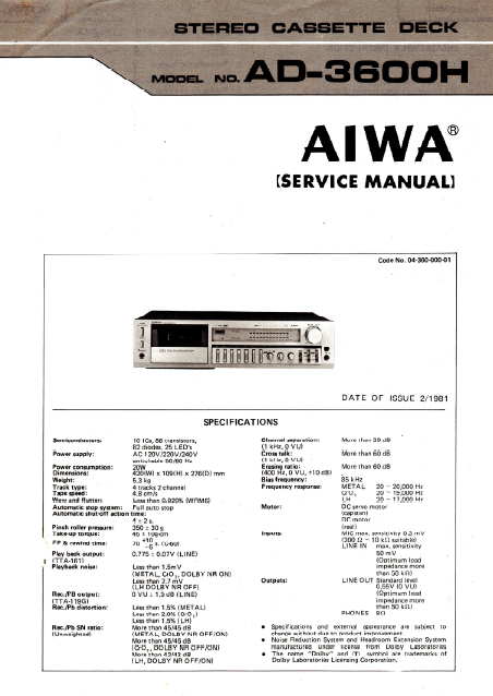 AIWA AD-3600H Stereo Cassette Deck Service Manual