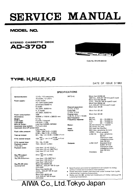 AIWA AD-3700 Stereo Cassette Deck Service Manual