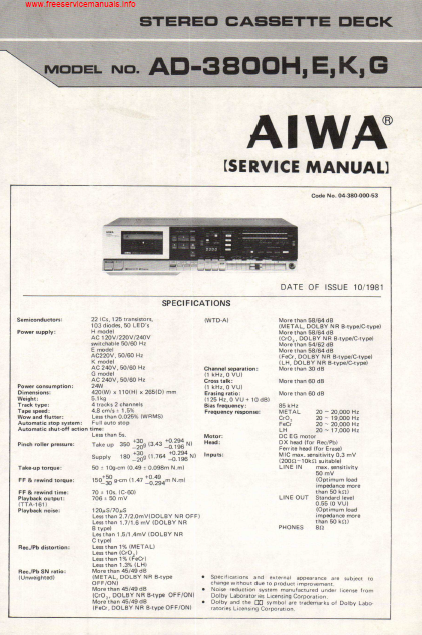 AIWA AD-3800H Stereo Cassette Deck Service Manual