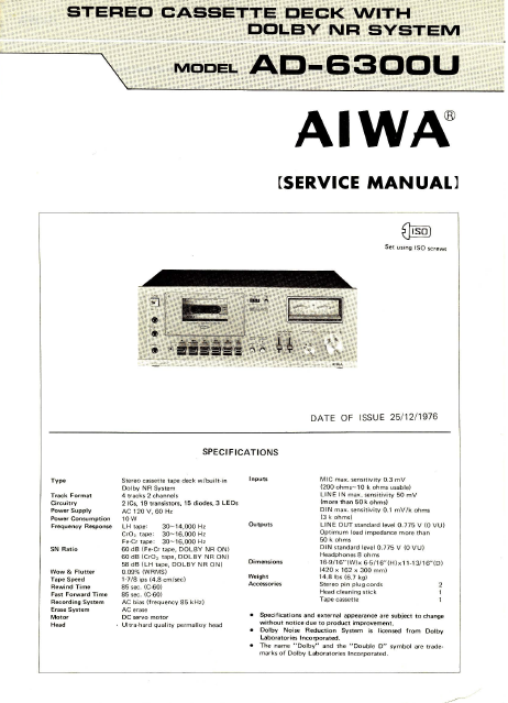 AIWA AD-6300U Stereo Cassette Deck with Dolby Service Manual