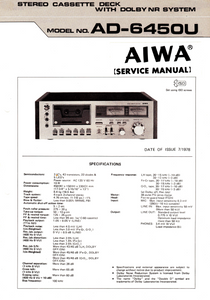AIWA AD-6450U Stereo Cassette Deck with Dolby Service Manual