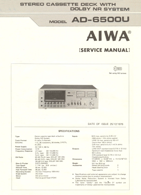 AIWA AD-6500U  Stereo Cassette Deck with Dolby NR Service Manual