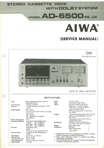 AIWA AD-6500EE UK Stereo Cassette Deck with Dolby Service Manual