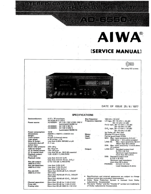 AIWA AD-6550H O G Stereo Cassette Deck with Dolby NR Service Manual