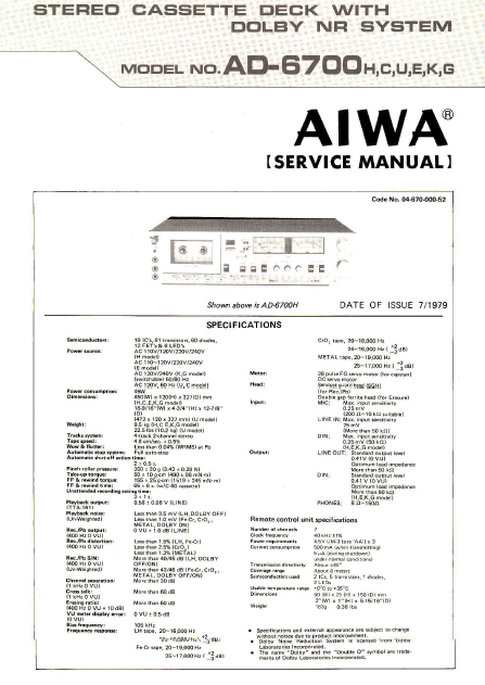 AIWA AD6700H Stereo Cassette Deck with Dolby NR Service Manual
