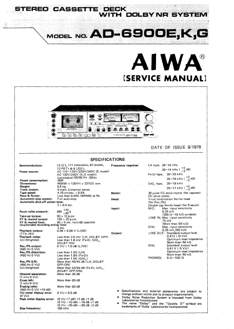 AIWA AD-6900E K,G Stereo Cassette Deck with Dolby NR Service Manual