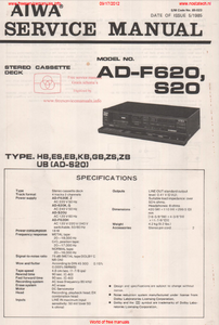 AIWA AD-F620 S20 Stereo Cassette-Deck Service Manual