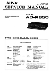AIWA Stereo Cassette Deck AD-R650 Service Manual