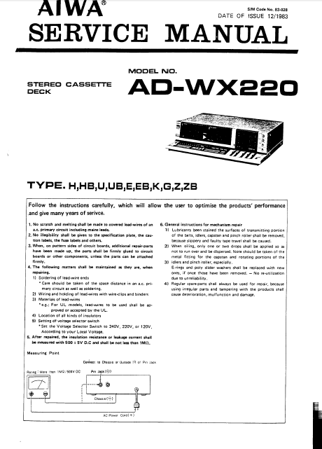 AIWA AD-WX220 (2) Service Manual