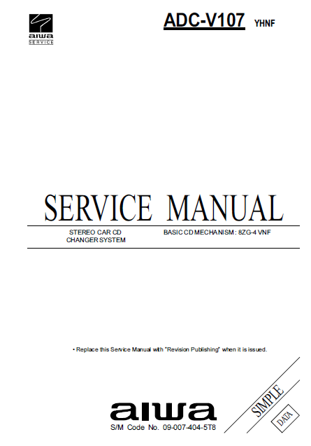 AIWA ADC-V107 YHNF Simple Data Service Manual