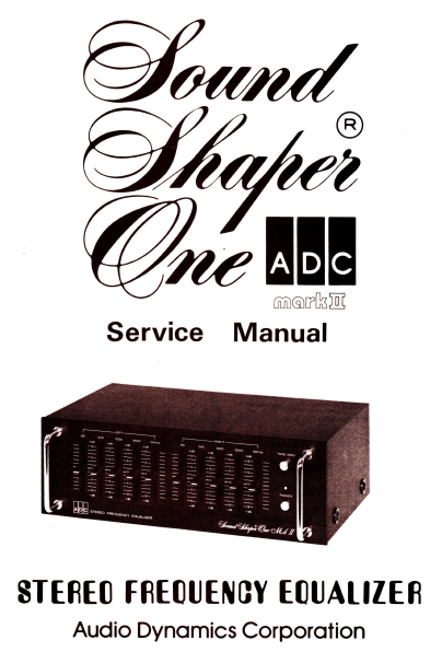 ADC SS1 Stereo Equalizer Service Manual