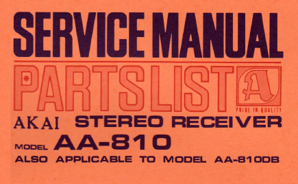 AKAI AA-810 Parts List Stereo Receiver Service Manual