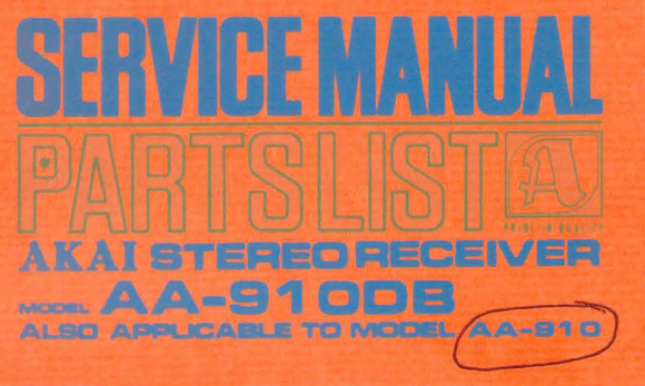 AKAI AA-910DB Parts List Stereo Receiver Service Manual