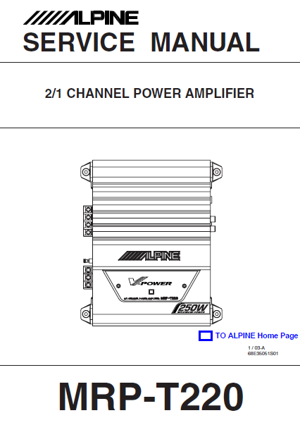 ALPINE MRP-T220 Channel Power Amplifier Service Manual