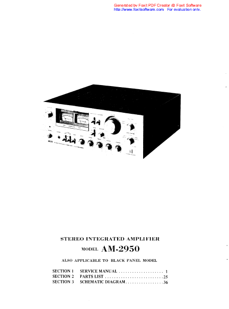 AKAI Stereo Integrated Amplifier Model AM-2950 Service Manual