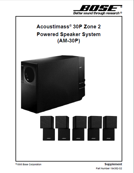 BOSE AM-30P Zone2 Speaker System Service Manual